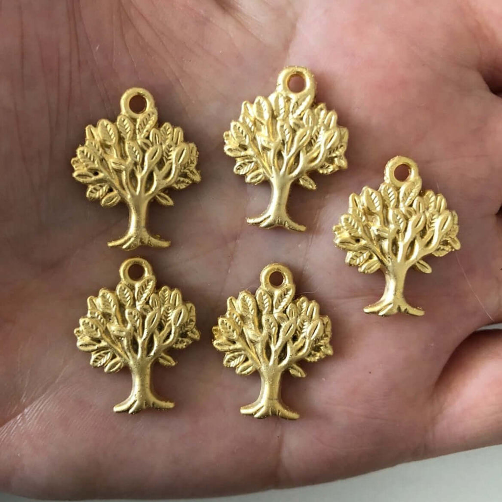 Tree of Life Charms, 22Kt Gold Plated, 2x1.6 cm, 5pcs
