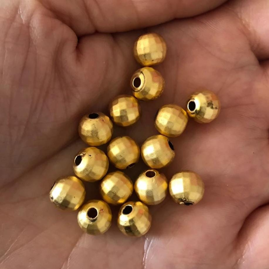 8mm 22kt Gold Plated Faceted Ball, Spacer Ball Beads,Spacer Beads, 20 pcs