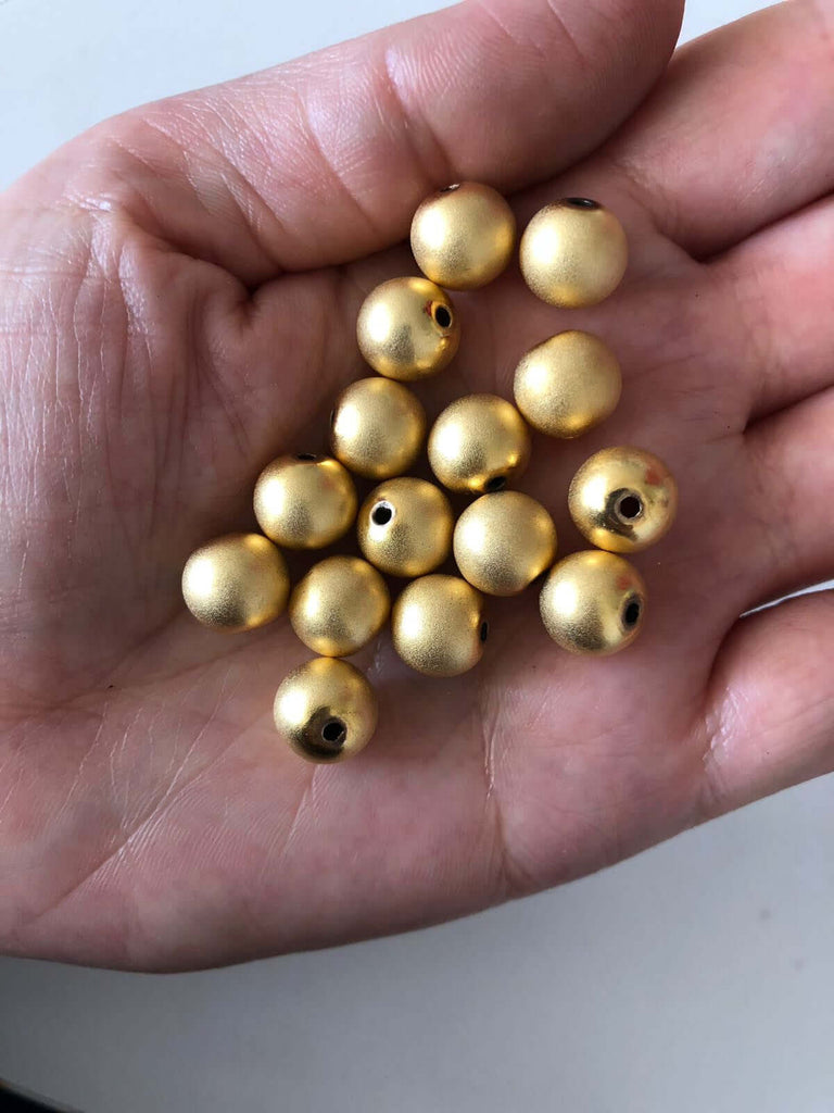 10mm 22kt Gold Plated Ball Beads,Spacer Beads, 10 pcs