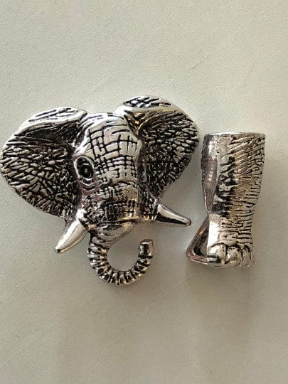 Silver Elephant Leather Clasp 5cm, Clasps For Leather