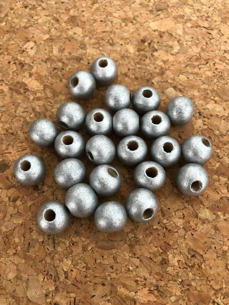 12 mm Wooden Beads-Silver Color, 50 Gr Pack