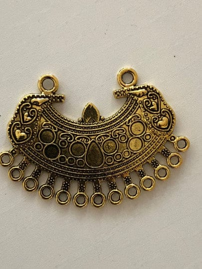 Antique Gold Pendant 5x3,5cm , Cabochon frame, 13 Holes