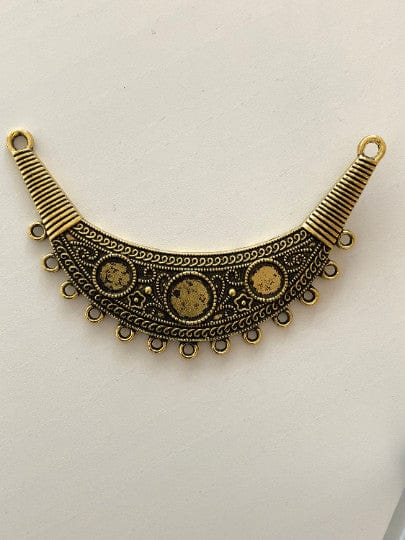 Antique gold pendant 8cm,13 holes, cabochon frame