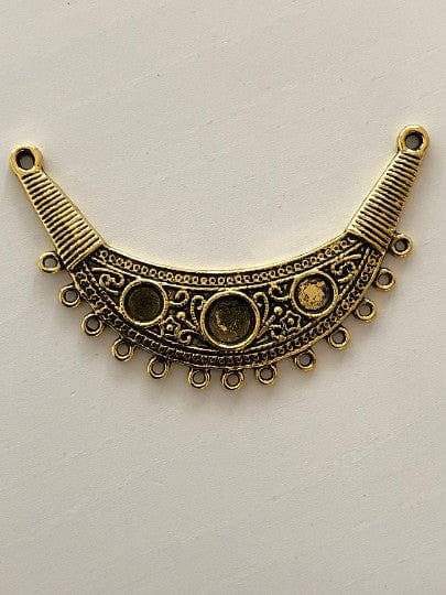 Antique gold pendant 7cm,13 holes, cabochon frame