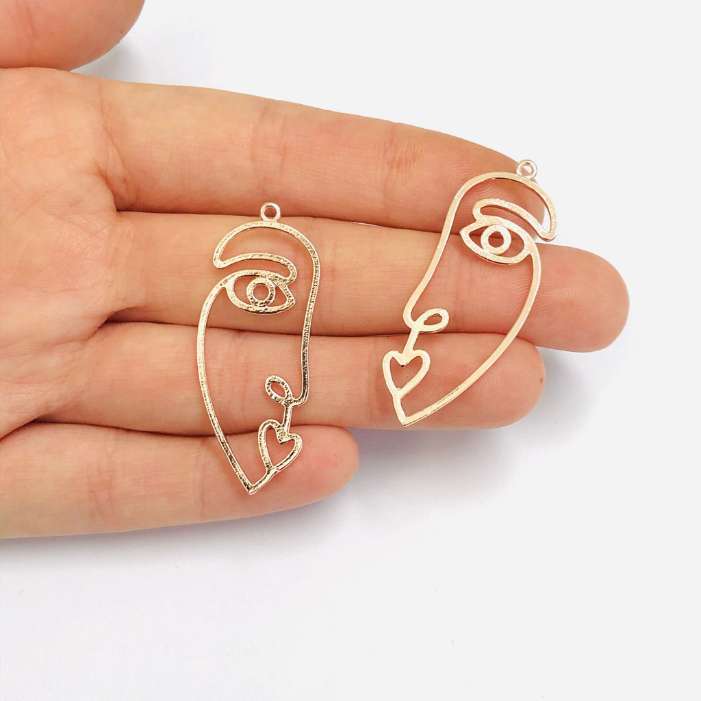 Face Outline Rose Gold Plated Brass Charms, Abstract Face Pendants, 2 pcs in a pack