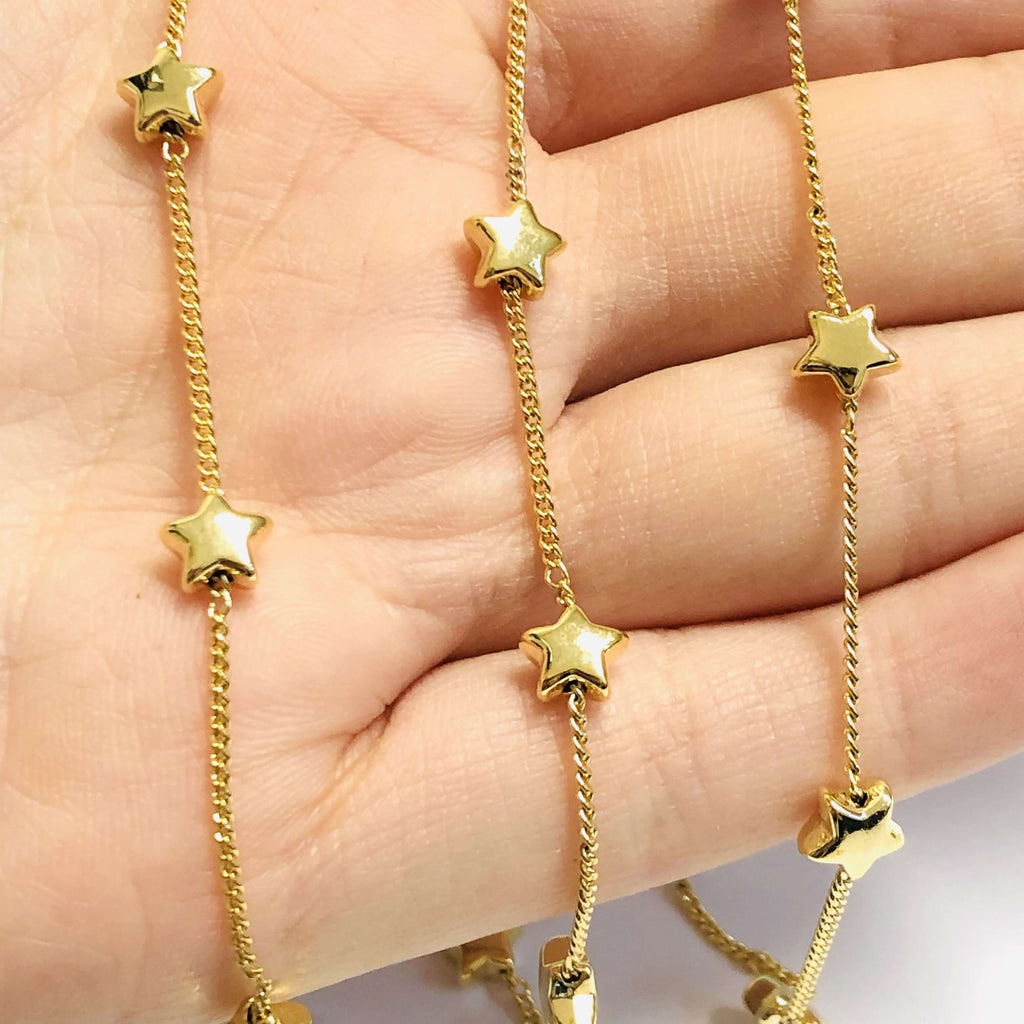 24Kt Gold Plated Chain with 6mm Stars, 1 Meter