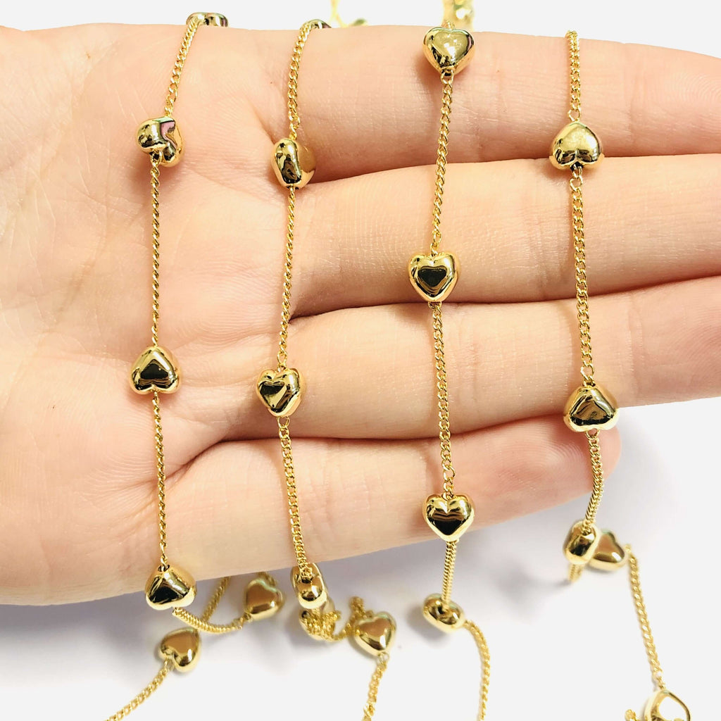 24Kt Gold Plated Chain with 6mm Hearts, 1 Meter