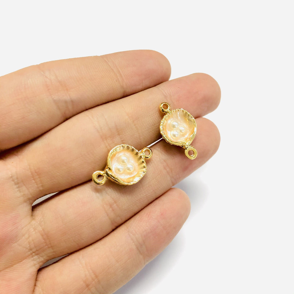 Ivory Enamelled Gold Oyster Connector Charms With Pearls, 2 pieces in a pack,
