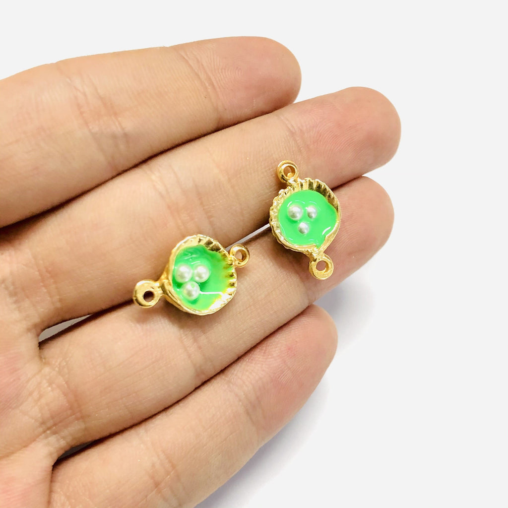 Neon Green Enamelled Gold Oyster Connector Charms With Pearls, 2 pieces in a pack,