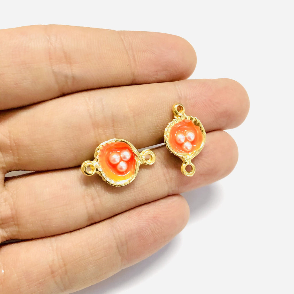 Neon Orange Enamelled Gold Oyster Connector Charms With Pearls, 2 pieces in a pack,