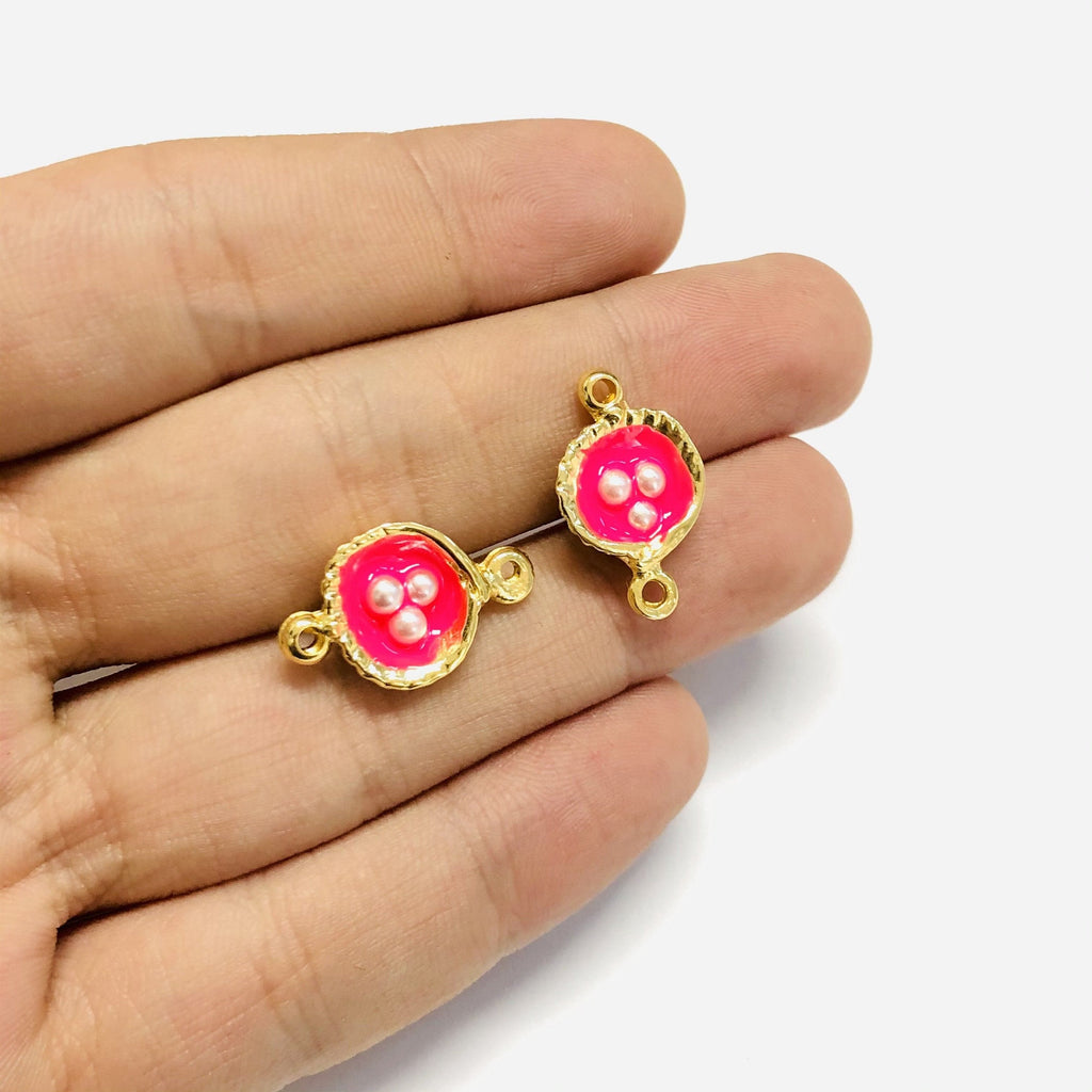 Neon Pink Enamelled Gold Oyster Connector Charms With Pearls, 2 pieces in a pack,