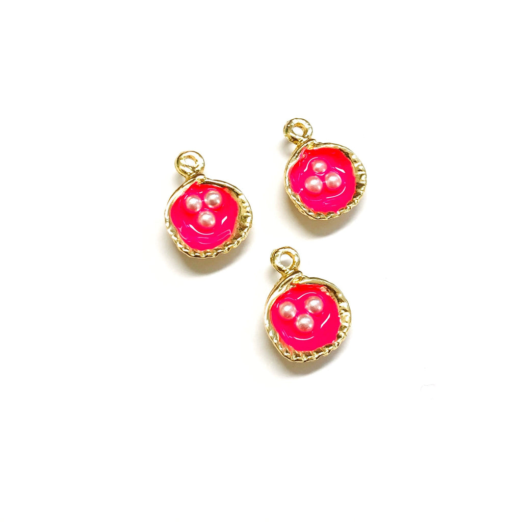 Neon Pink Enamelled Gold Oyster Charms With Pearls,  22K Gold Plated Oyster Charms With Pearls, 2 pieces in a pack,