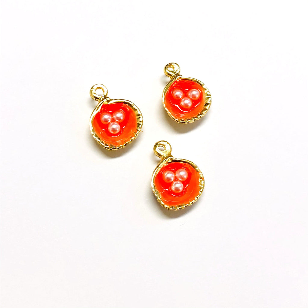 Neon Orange Enamelled Gold Oyster Charms With Pearls,  22K Gold Plated Oyster Charms With Pearls, 2 pieces in a pack,