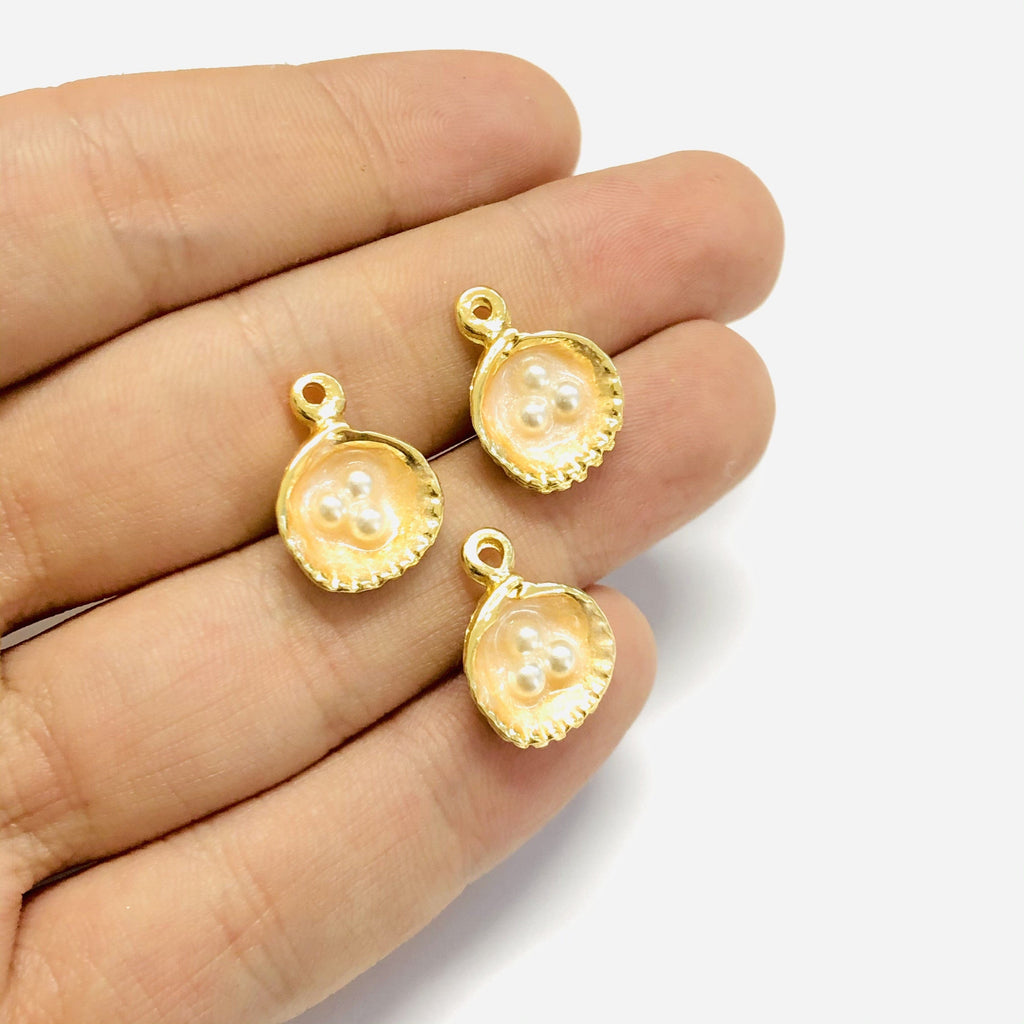 Ivory Enamelled Gold Oyster Charms With Pearls,  22K Gold Plated Oyster Charms With Pearls, 2 pieces in a pack,