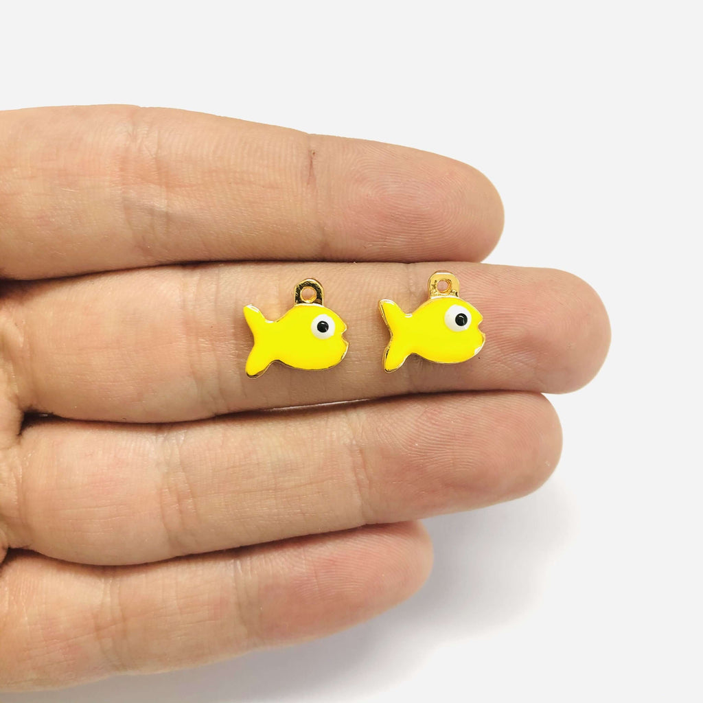24Kt Gold Plated Enamelled Neon Yellow Fish Charms, 2 pcs in a Pack