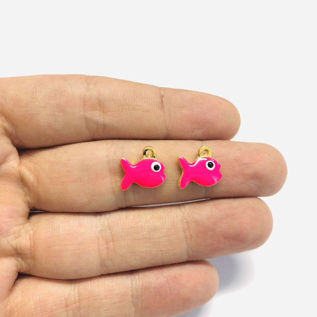 24Kt Gold Plated Enamelled Neon Pink Fish Charms, 2 pcs in a Pack