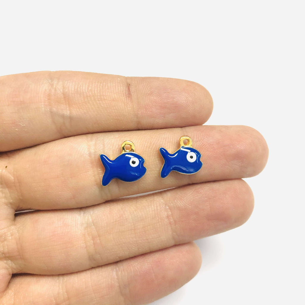 24Kt Gold Plated Enamelled Navy Blue Fish Charms, 2 pcs in a Pack