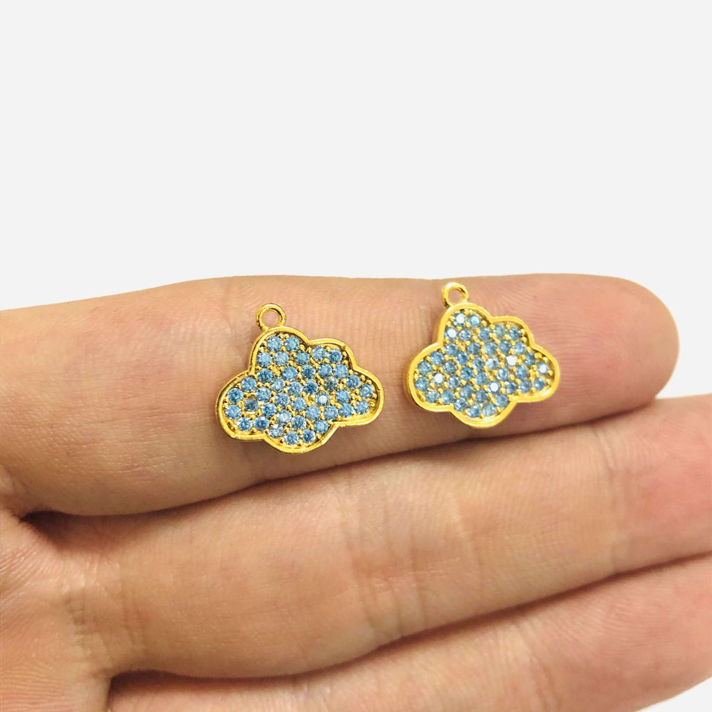 24Kt Gold Plated Blue Zirconia Pave Cloud Charm
