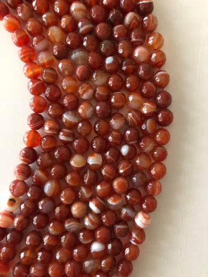 Dark Brown Agate faceted 8mm, 47 beads per strand