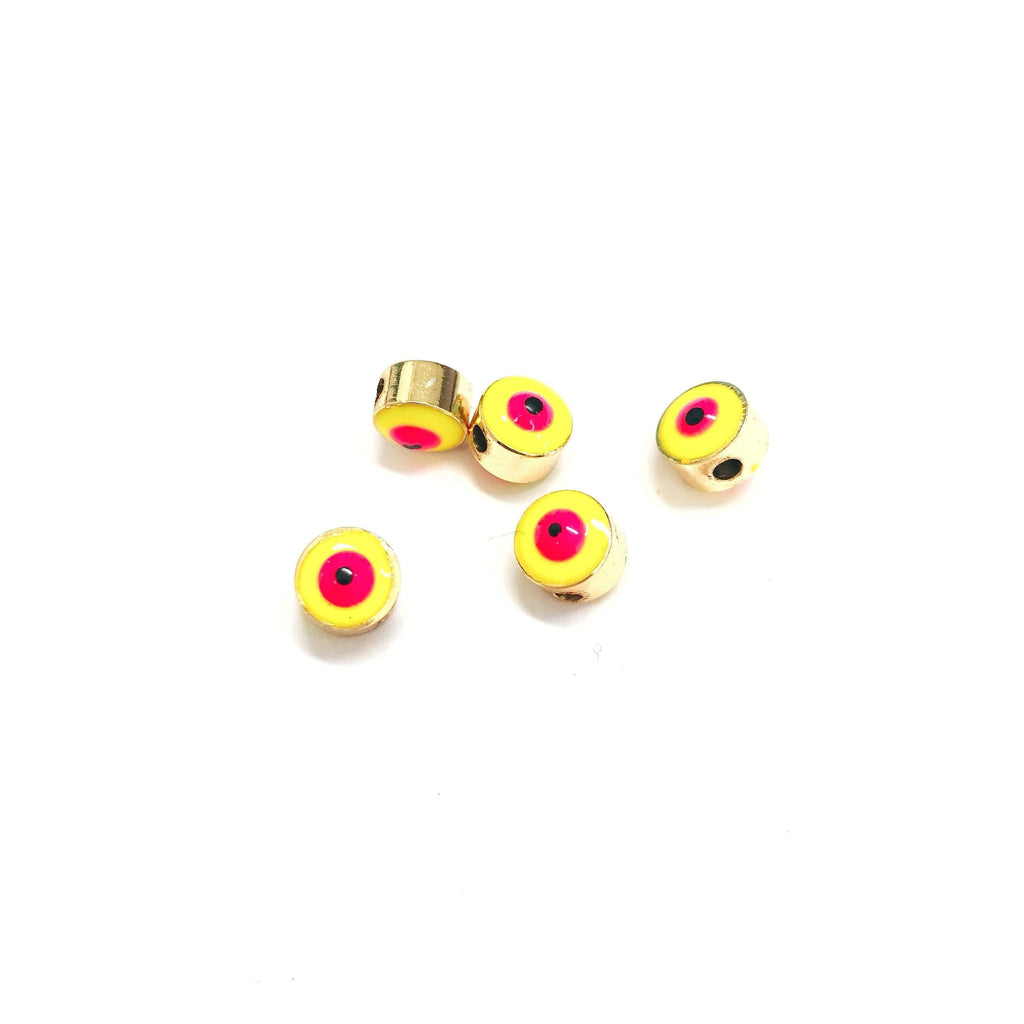 7mm 24K Gold Plated Evil Eye Beads, 7mm 24K Gold Plated Evil Eye Spacers, 5 Pcs in a Pack