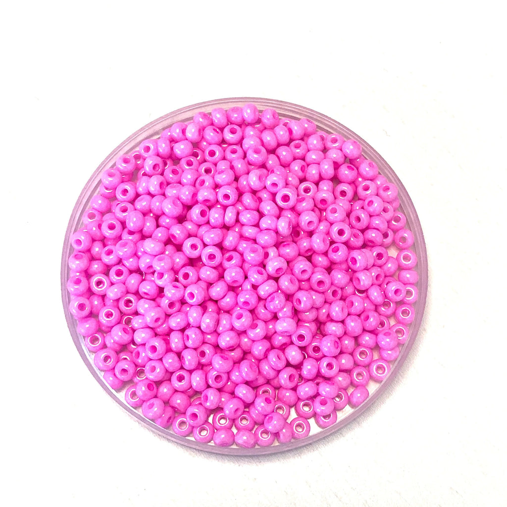 Preciosa Seed Beads 6/0 Rocailles-Round Hole 20 gr, 16173 Pink Dyed Chalkwhite