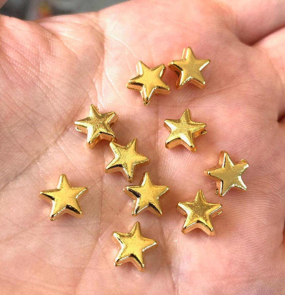 6mm Spacer Beads, Spacer Stars, Star Charms, 6mm 22 Kt Matte Gold Plated, 10 pieces in a pack