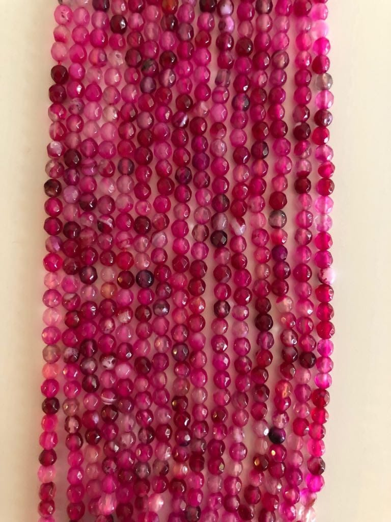 Deep Pink Agate Faceted 4mm round beads, 103 beads per strand, beads, gemstone beads,