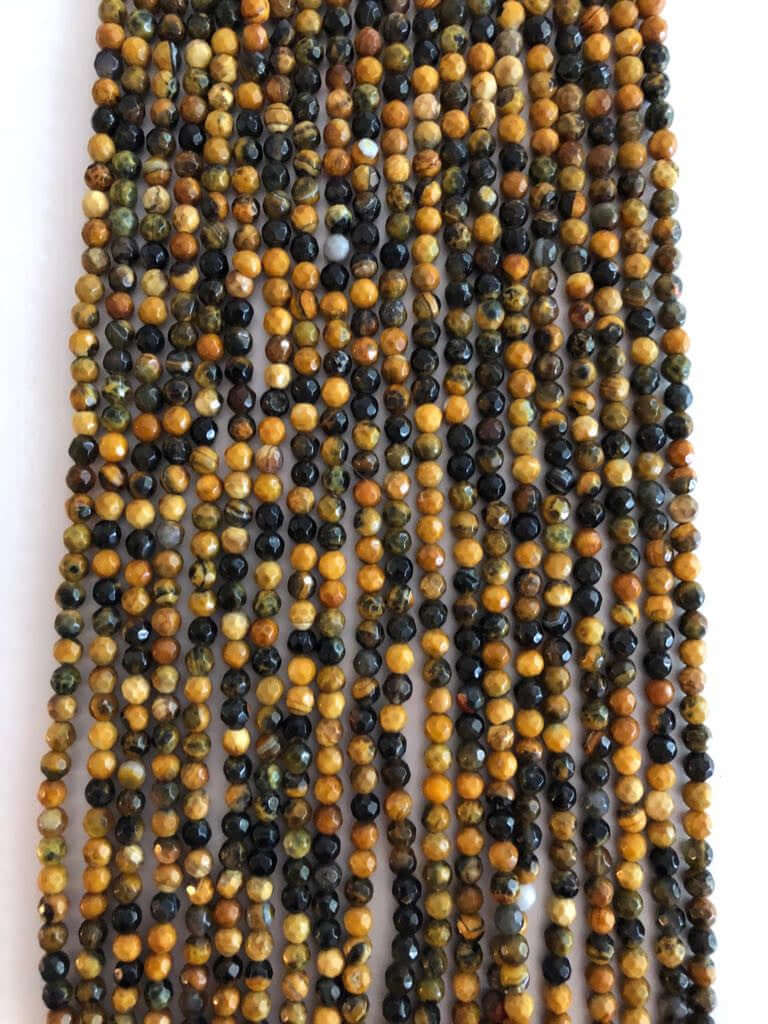 4mm Brown Agate, Faceted Round Beads, 103 Beads per Strand