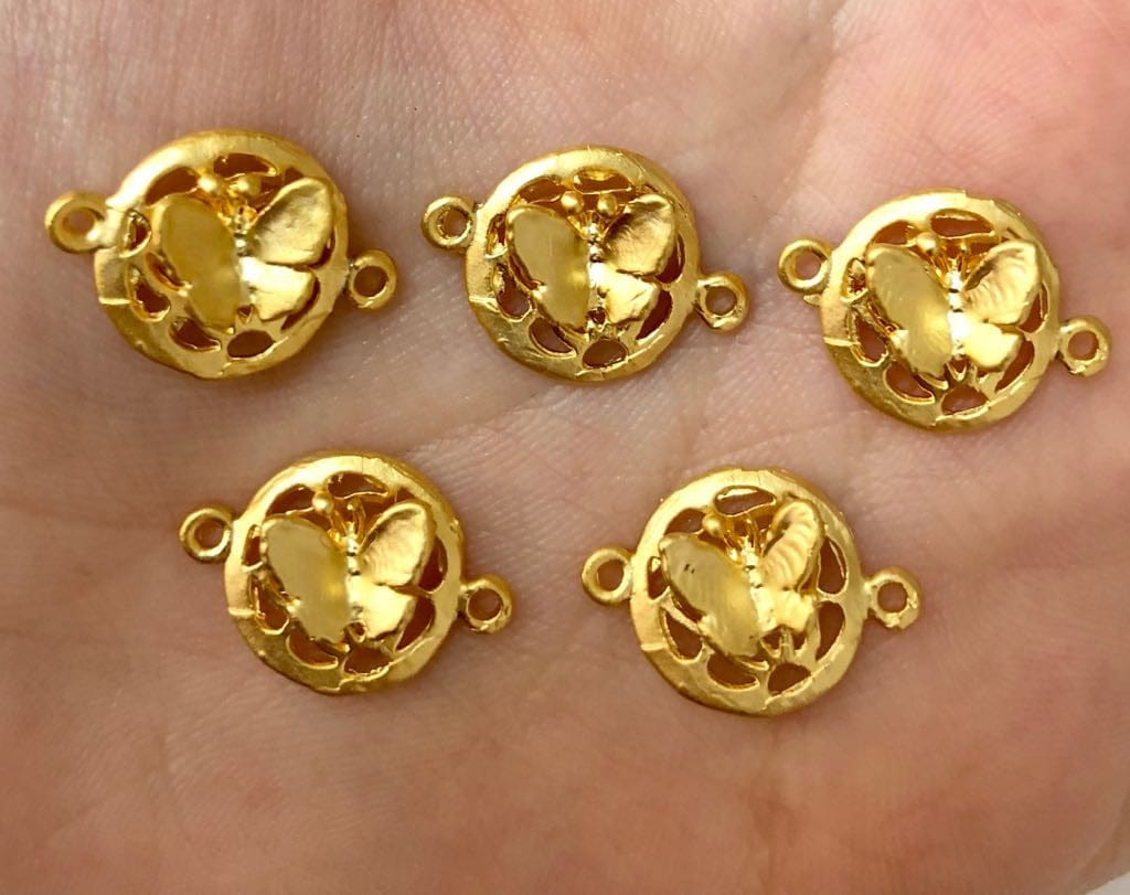 Tiny Butterfly Charms, 2cm, 5pieces in a pack, 22Kt Matte Gold Plated