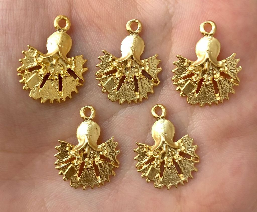Tiny Tulip Charms, 2cm, 22 Kt Matte Gold Plated, 5 pieces in a pack