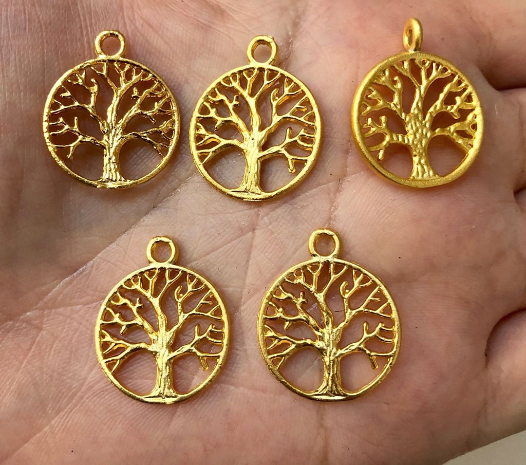Tree Of Life Charms, Tree of Life Pendants, 2cm, 22 Kt matte Gold Plated, 5 pieces in a pack