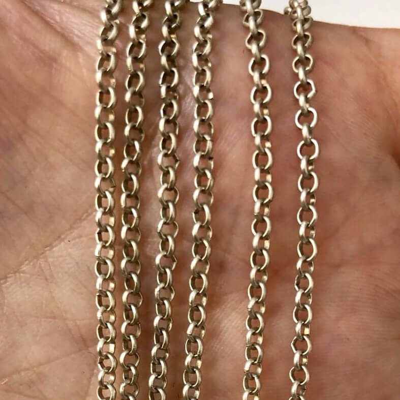 16.5 Foot Bulk, 2mm Silver Chain, Silver Plated Chain, Unsoldered Link, Silver Plated, Necklace Chain, Bracelet Chain,