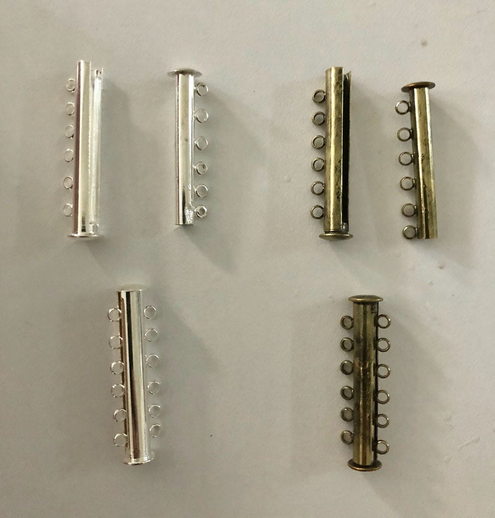 Magnetic Slide Clasps 6  Strands, Silver Plated or Antique Gold Plated