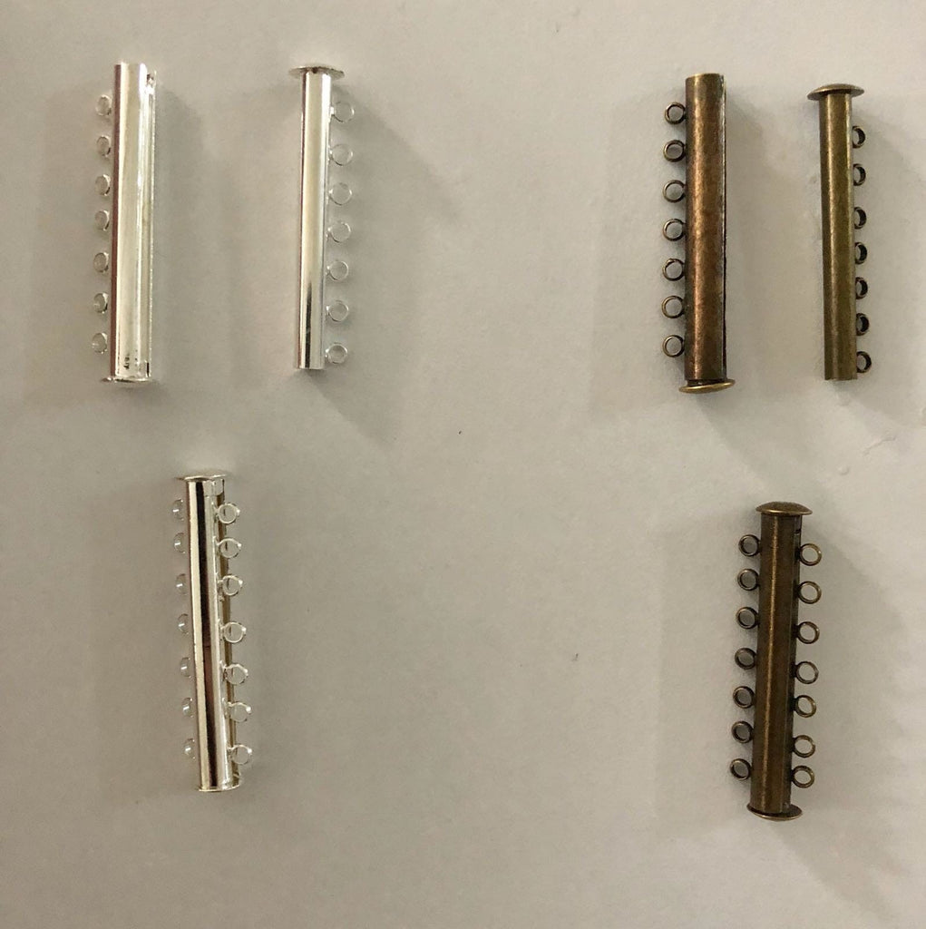 Magnetic Slide Clasps 7 Strands, Silver Plated or Antique Gold Plated