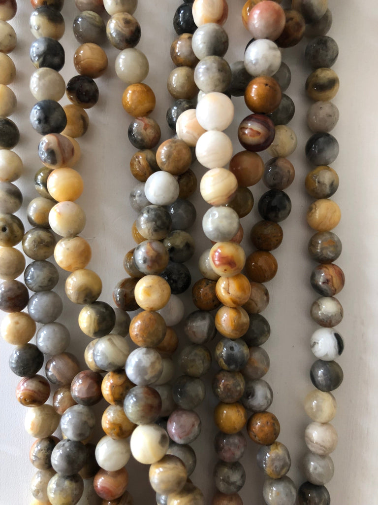 Porcelain Jasper - 6 mm round beads - full strand - 62 beads,Beads,Gemstone Beads,Natural Gemstone