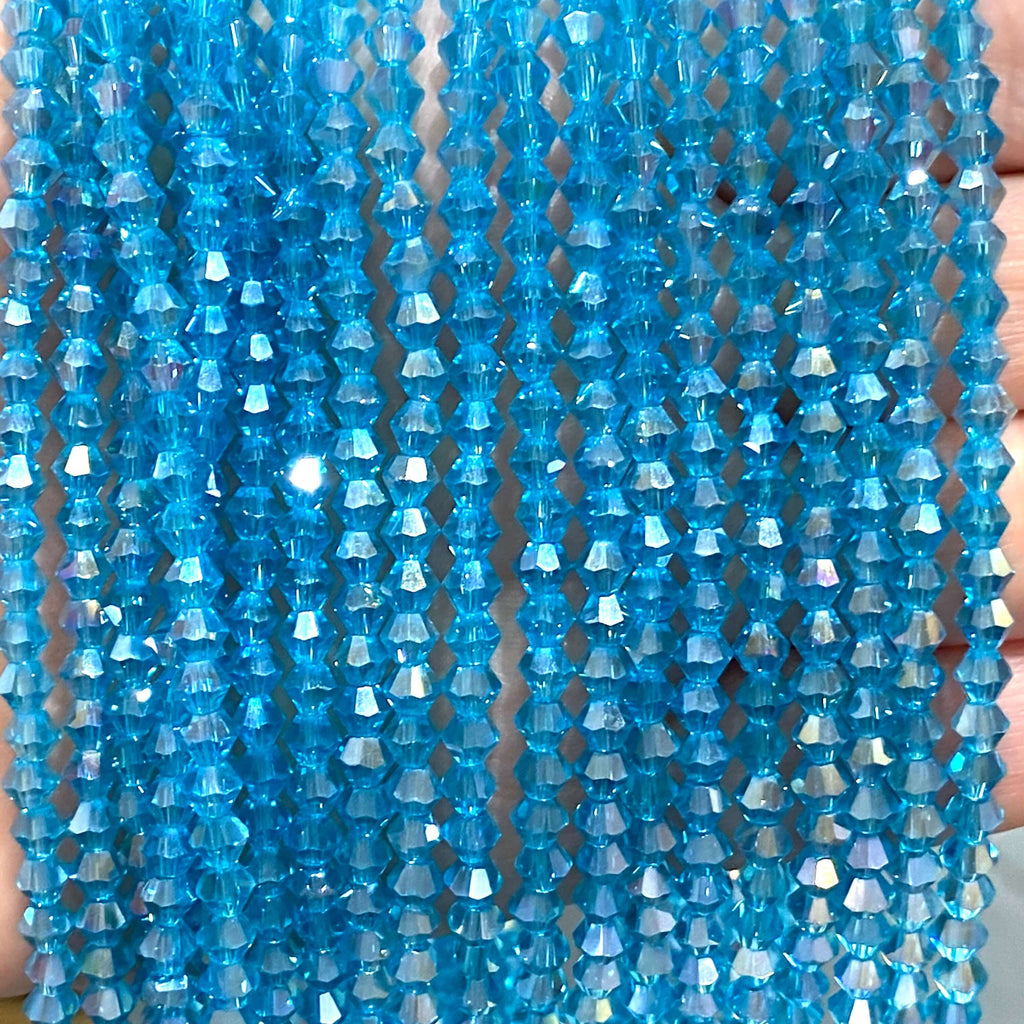 4mm Crystal faceted bicone - 110 pcs -4 mm - full strand - PBC4B4,Crystal Bicone Beads, Crystal Beads, glass beads, beads