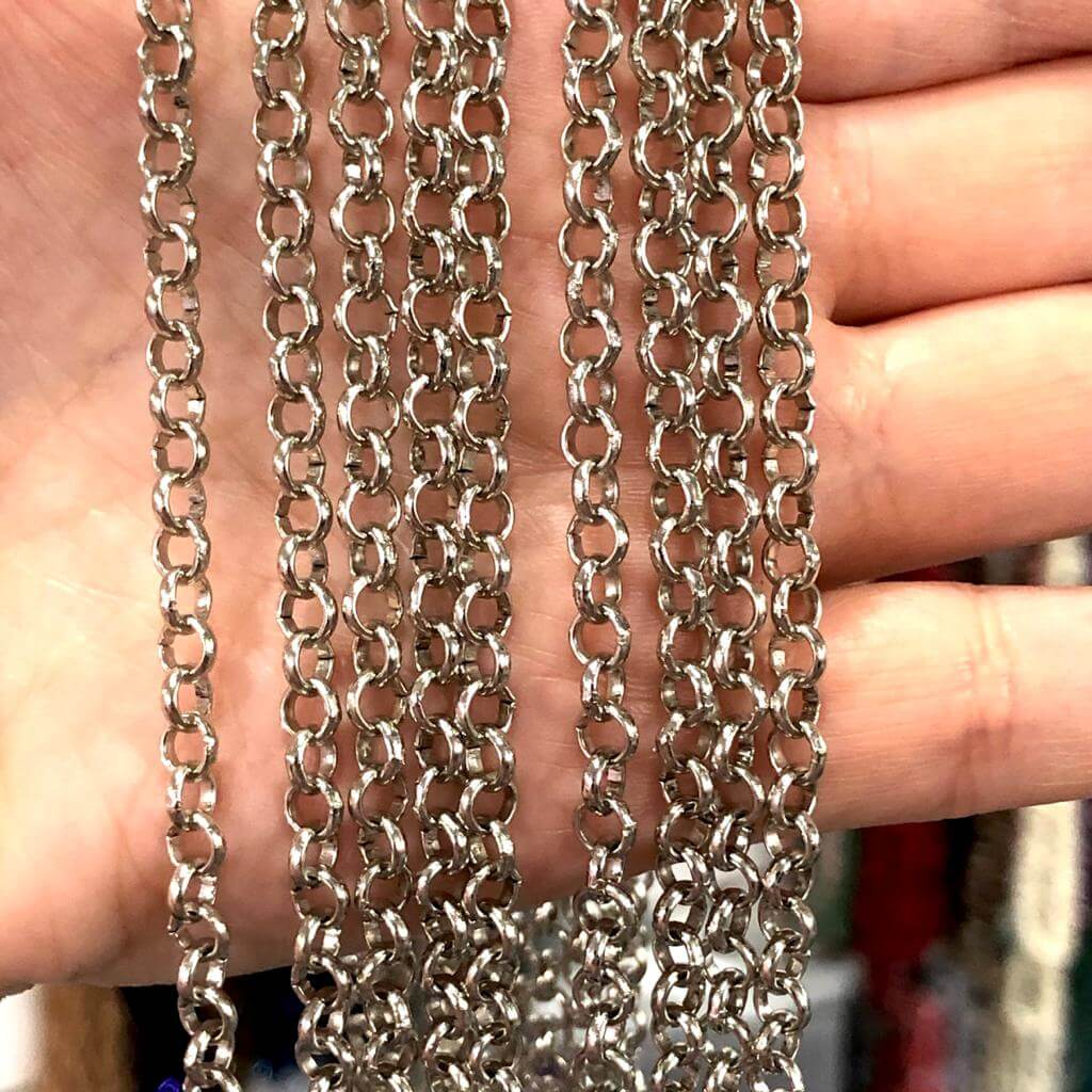 5mm Silver Chain, Silver Plated Chain, Silver Plated, Necklace Chain,