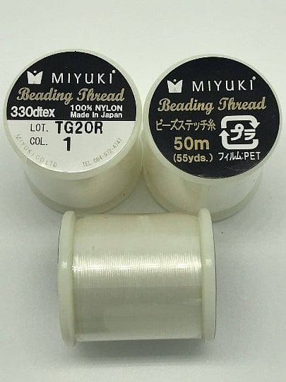 Miyuki Thread  Color 1 White ,Miyuki original nylon thread, delivered by 50 meters on a spool