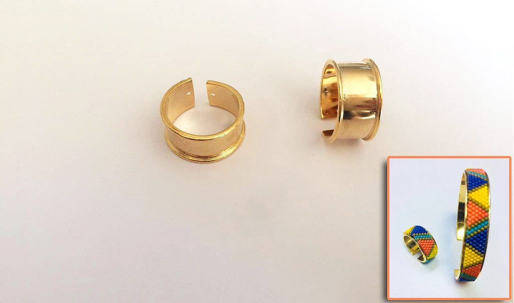 Gold Plated Miyuki Delica Clamp Ring Blanks - Metal Beading Ring Blanks