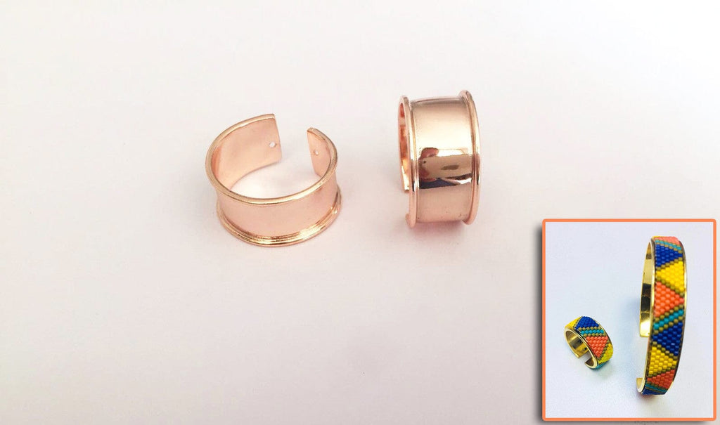 Rose Gold Plated Miyuki Delica Clamp Ring Blanks - Metal Beading Ring Blanks