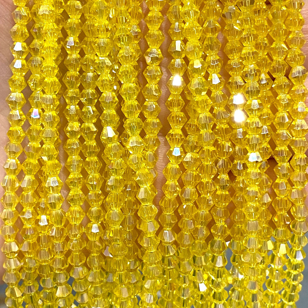4mm Crystal faceted bicone - 110 pcs -4 mm - full strand - PBC4B7,Crystal Bicone Beads, Crystal Beads, glass beads, beads