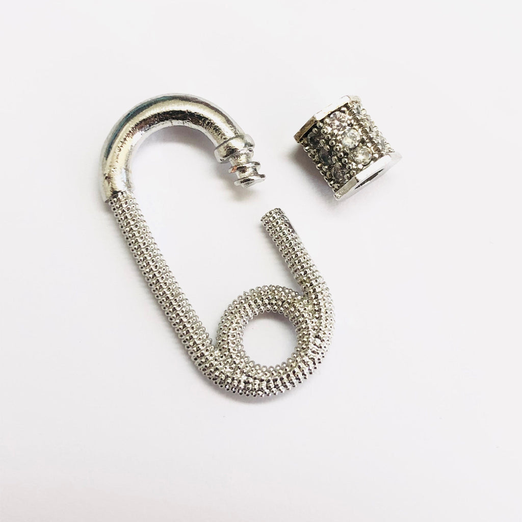 Rhodium Plated Brass Carabiner Clasp, Micro Pave Carabiner Screw Clasp