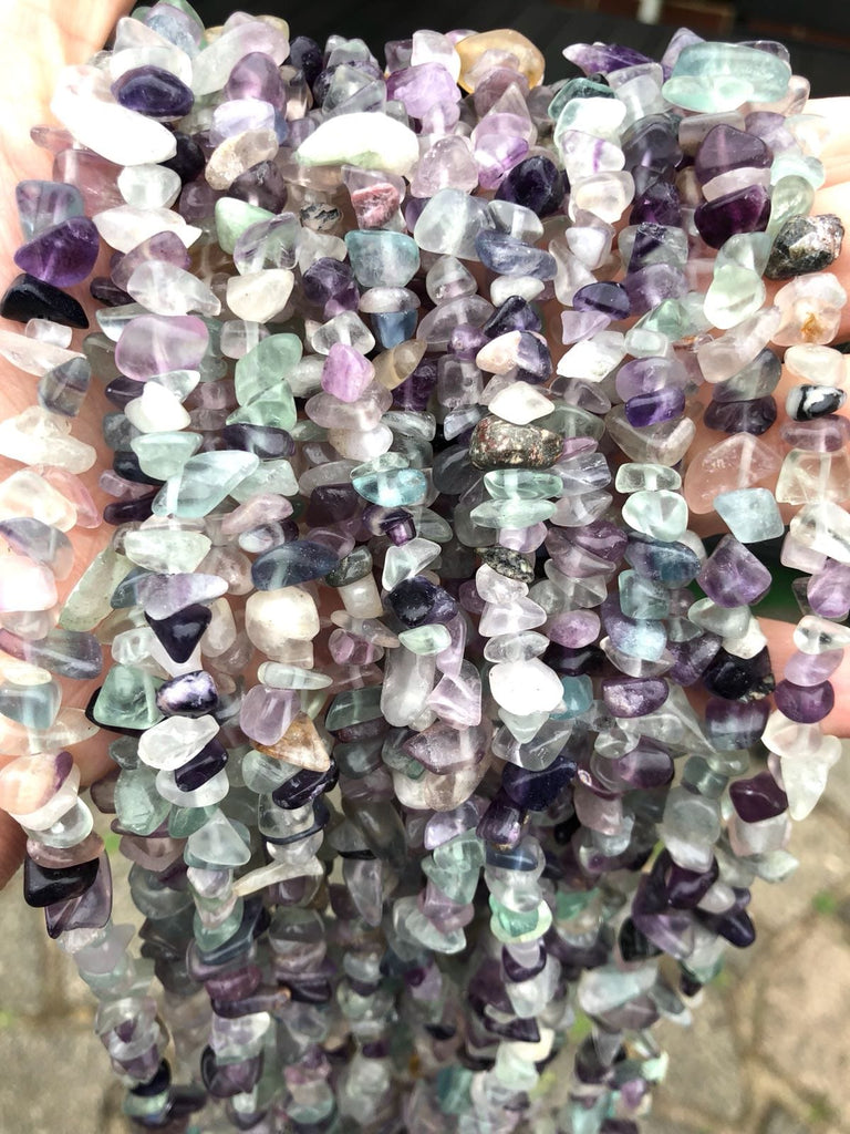 90 cm Strand Natural Freeform Fluorite Chips, Long strand 36''