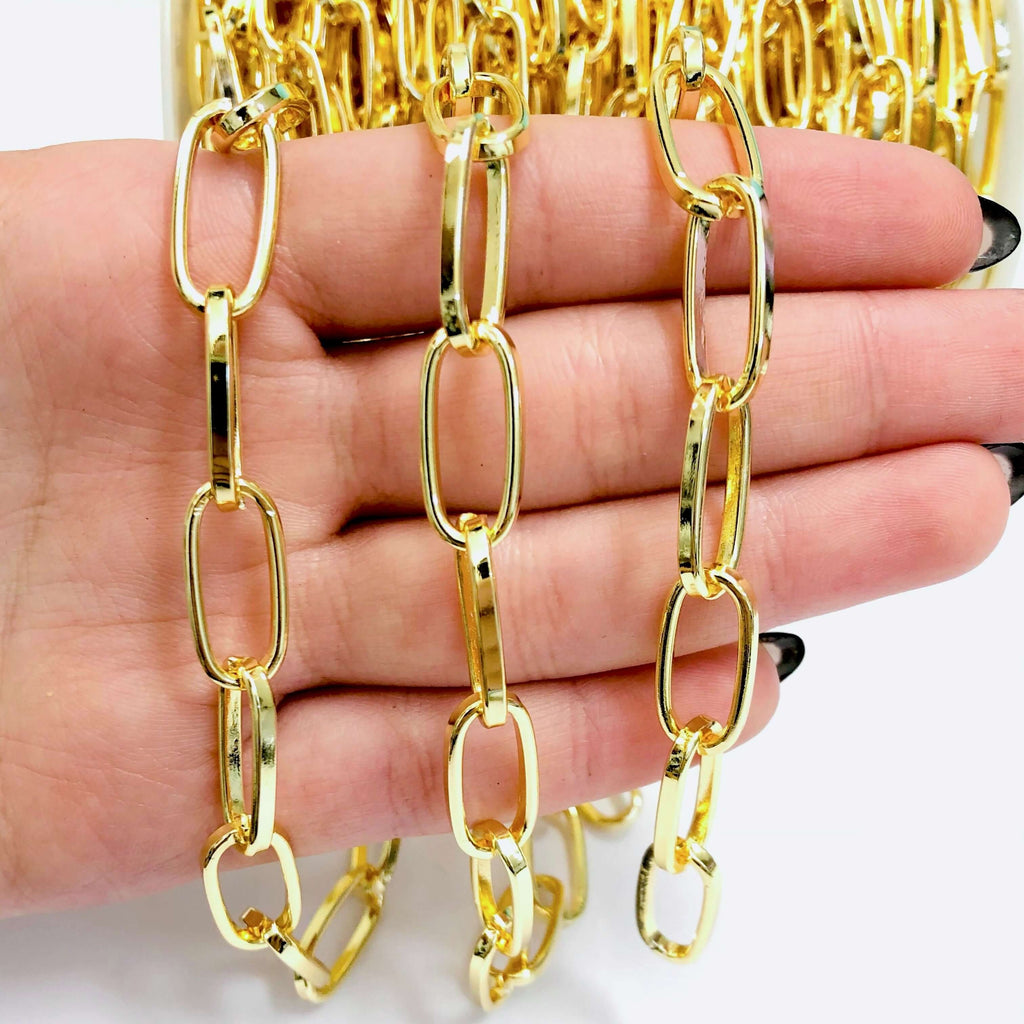 24Kt Shiny Gold Plated Open Link Chain, 20x9 mm Gold Plated Chain,