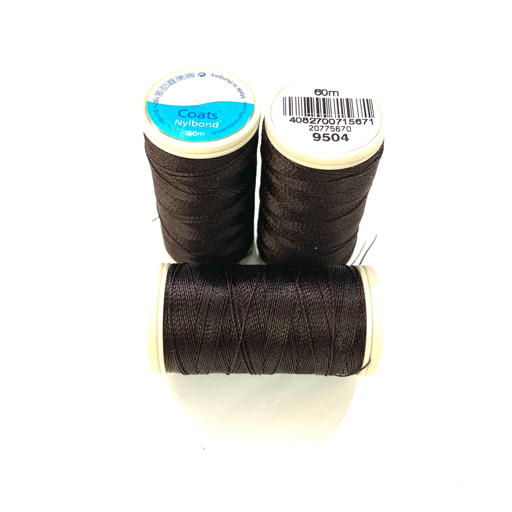 Coats, Nylbond extra strong beading thread | 60mt | very dark brown 9504