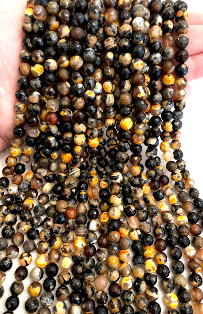 Brown Agate faceted 8mm, 47 beads per strand,Beads,Gemstone Beads,Natural Gemstone