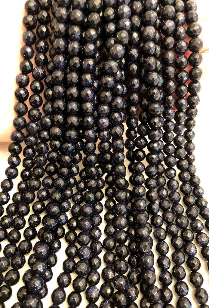 Faceted Sandstone Beads 8mm Round, Blue Goldstone Round 8mm, Gemstone Beads, Natural Gemstone,Sandstone full strand 48 beads