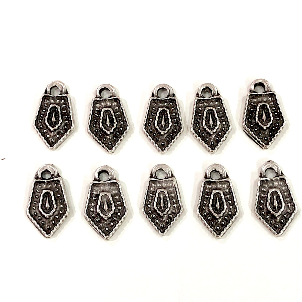Silver Shield Charms,  Silver Plated Shield Charms, 20 pieces in a pack,