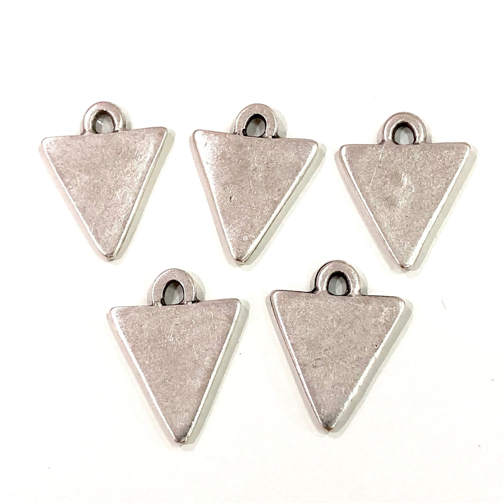 Silver Triangle Charms ,  Silver Plated  Triangle Charms , 10 pieces in a pack,
