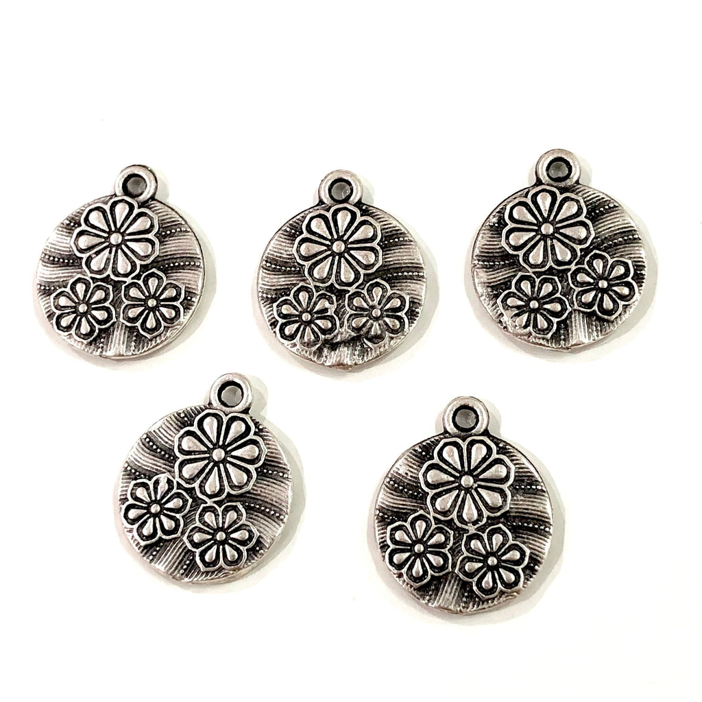 Silver Flower Coin Charms ,  Silver Plated  Flower Coin Charms , 10 pieces in a pack,